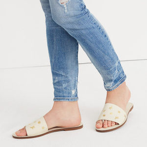 Madewell White & Gold Embossed Leather Sandals